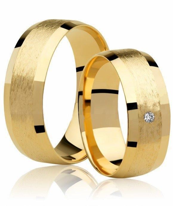 Alianças de Prata 950 Banhadas a Ouro 24k Diamantada AB7008