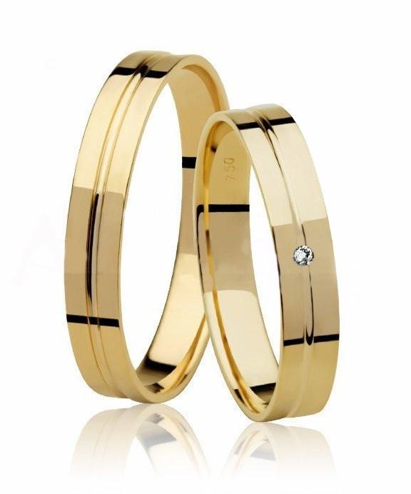 Alianças de Prata 950 Banhadas a Ouro 24k Noivado ou Casamento AB7036