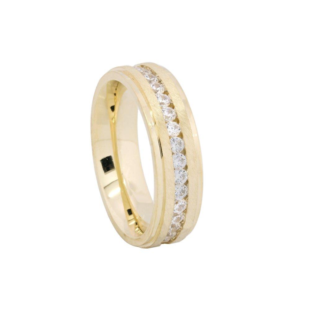 Alianças de Prata e Ouro com Pedras 6mm - AB7085