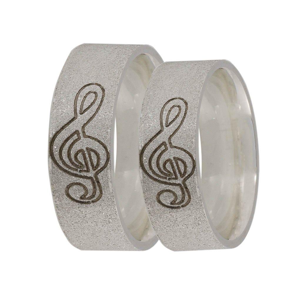 Alianças Namoro Call Prata 950 Clave Musical Diamantada AP6071