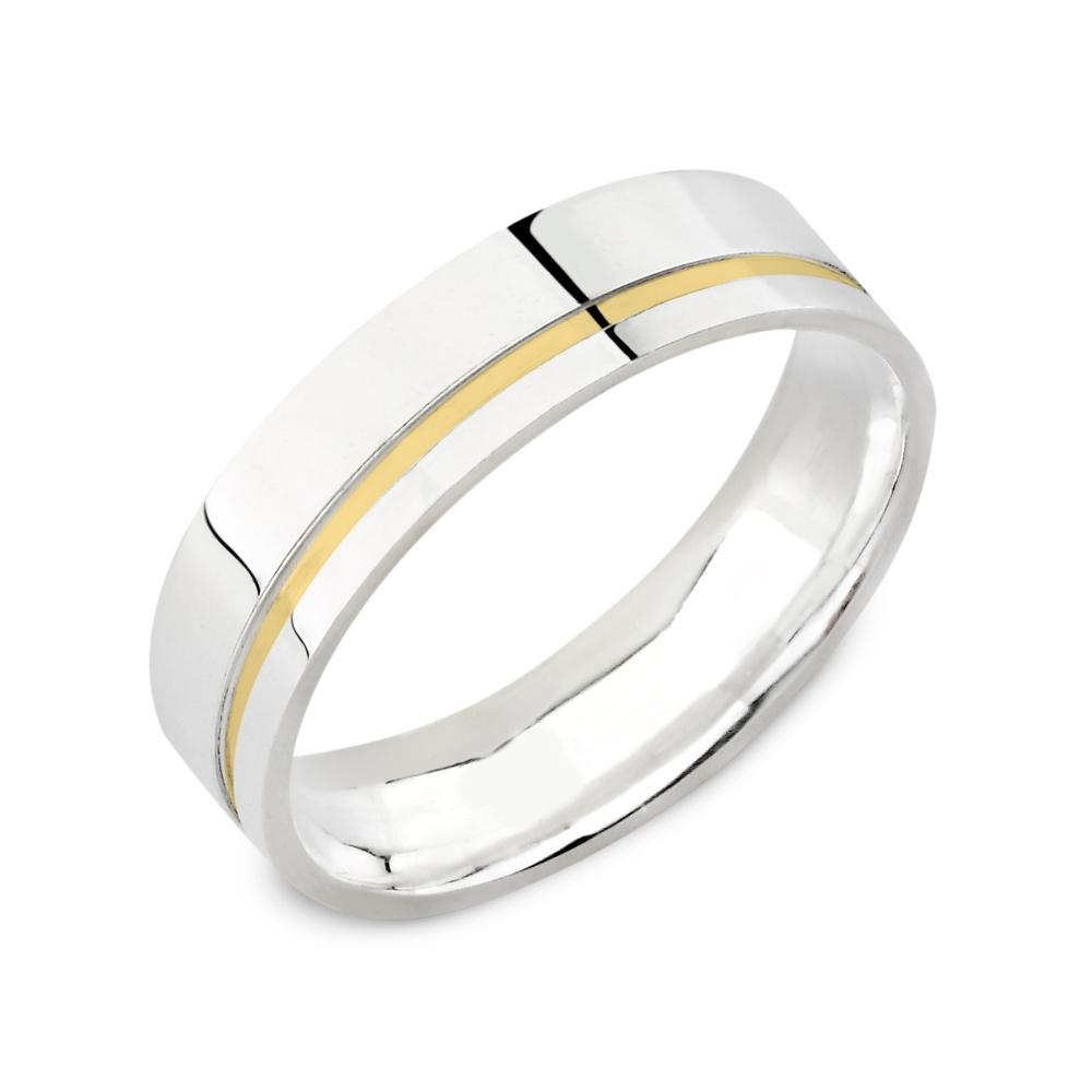 Alianças Namoro Prata Filete de Ouro Quadrada Polida (5,5 mm)