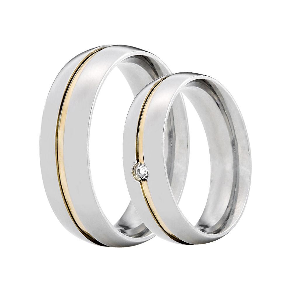 Alianças de Namoro Prata Abaulada com 2 Filetes em Ouro  (6mm)