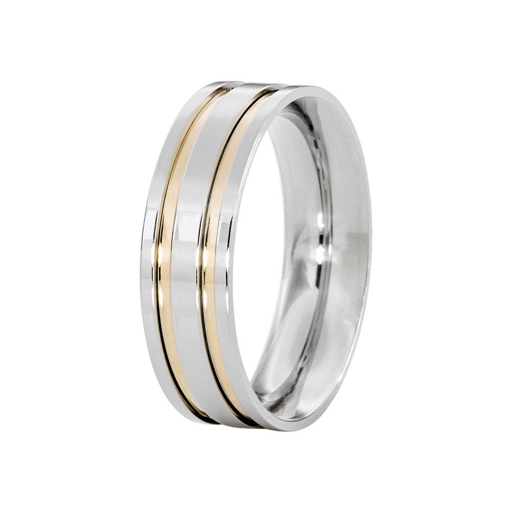Alianças de Namoro Prata Linha Filetes de Ouro com Pedra (6mm)