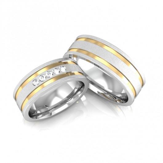 Alianças Compromisso de Prata e Ouro Quadrada Diamantadas (7mm)