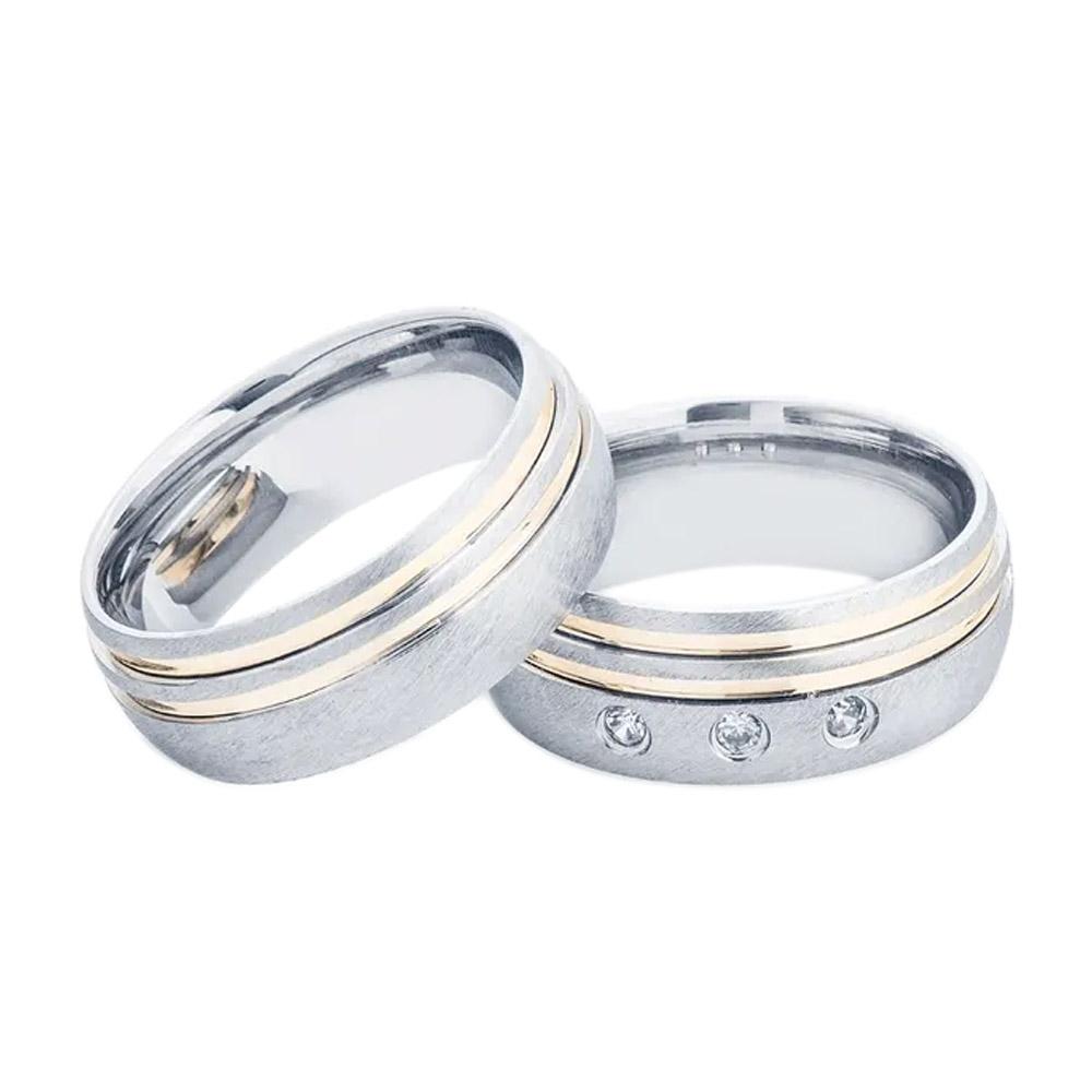 Alianças de Namoro Prata Abaulada Fosca com Filetes de Ouro (7mm)