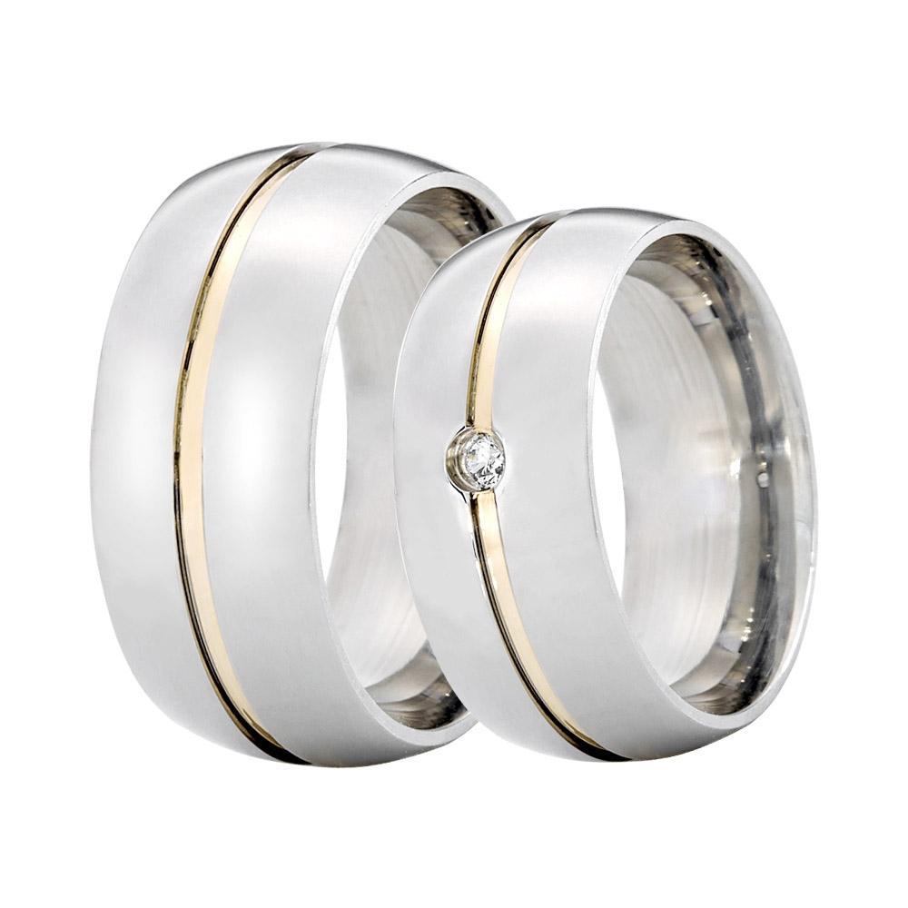 Alianças de Namoro Prata Abaulada Grossa com 2 Filetes em Ouro  (8mm)