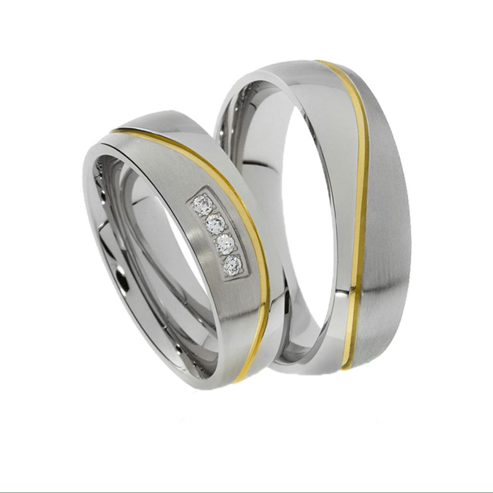 Alianças Namoro de Prata 950 Aplique de Ouro AP6070