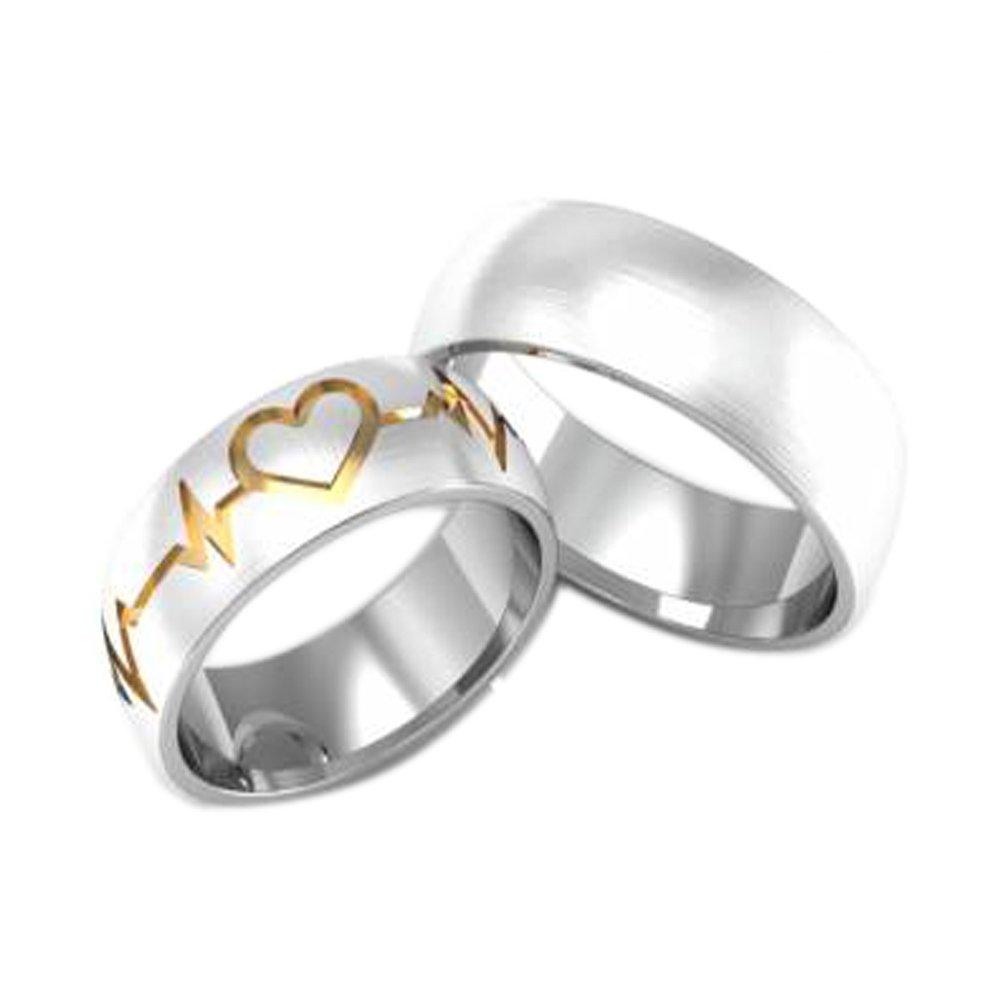 Alianças Namoro Prata Batimento Aplique de Ouro (6,5mm)