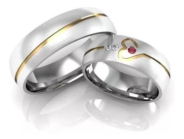Alianças Namoro de Prata Coração Polida 6mm