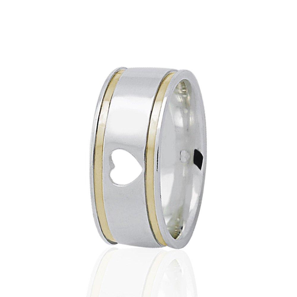 Alianças Namoro Prata Quadrada Coração Vazado e 2 Filetes em Ouro (8mm)