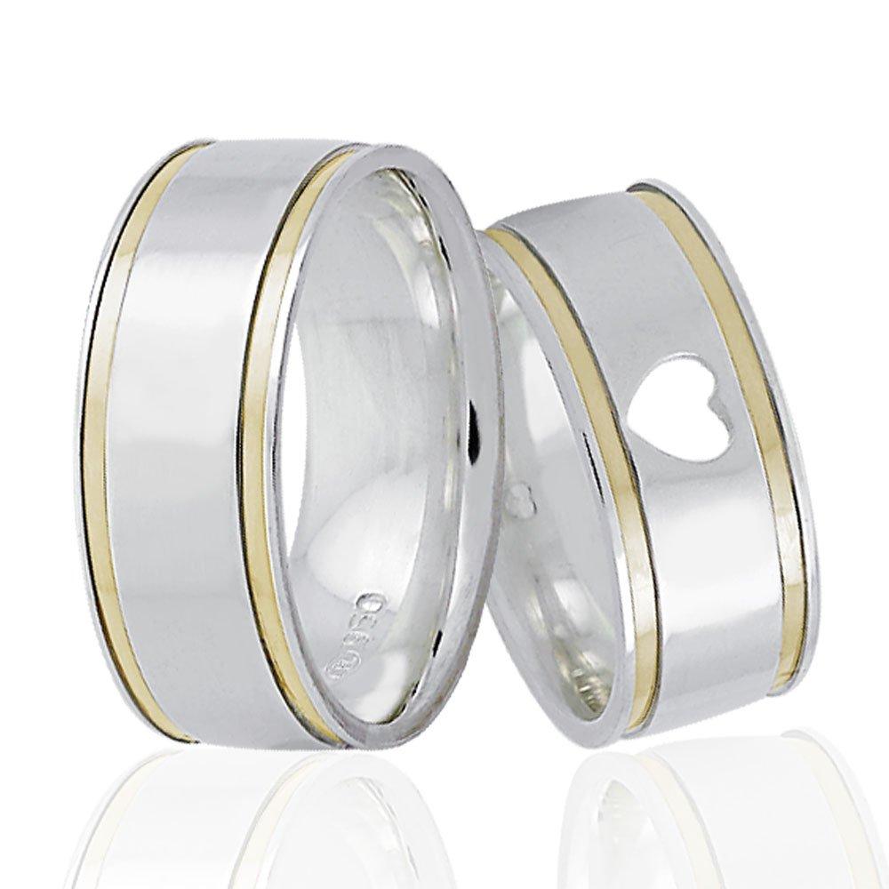 Alianças Namoro de Prata Filete de Ouro 8 mm AP6078