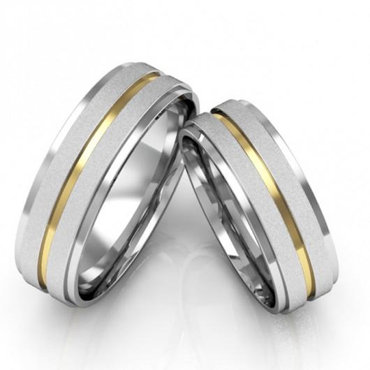 Alianças Compromisso de Prata Diamantada com Bordas Polidas (6mm)