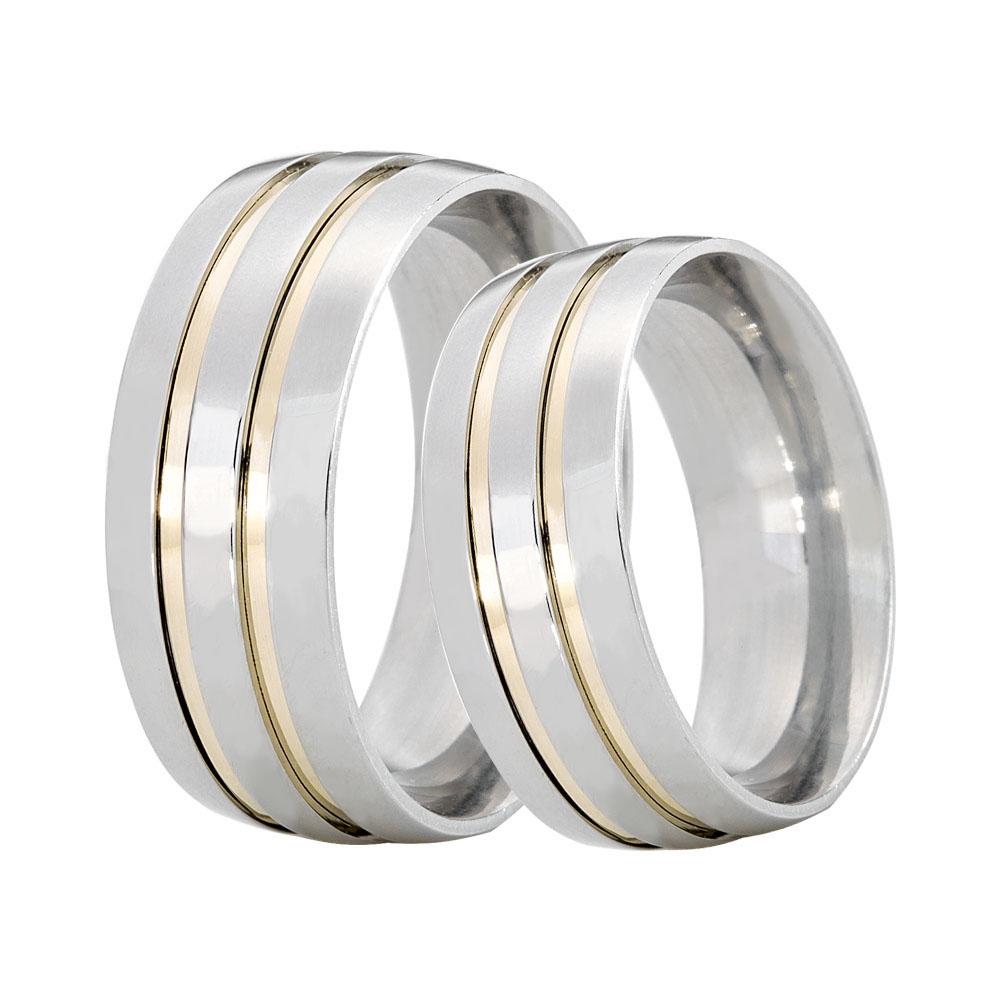 Alianças Namoro de Prata Abaulada Grossa com 2 Filetes em Ouro  (8mm)