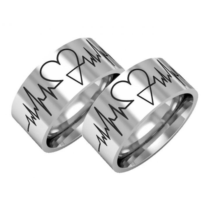 Alianças Namoro de Prata Manuscript Heart AP6010