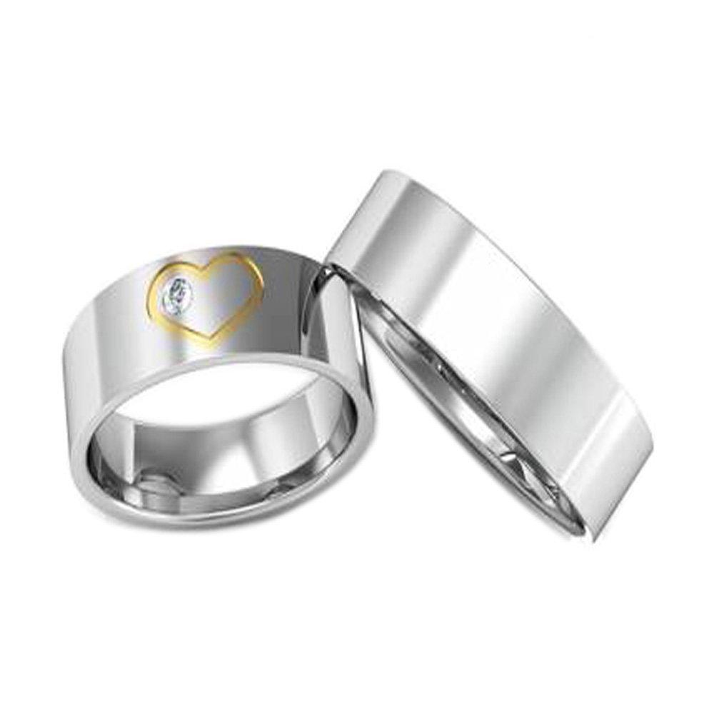 Alianças Namoro de Prata Quadrada Coração e Pedra - AP6002