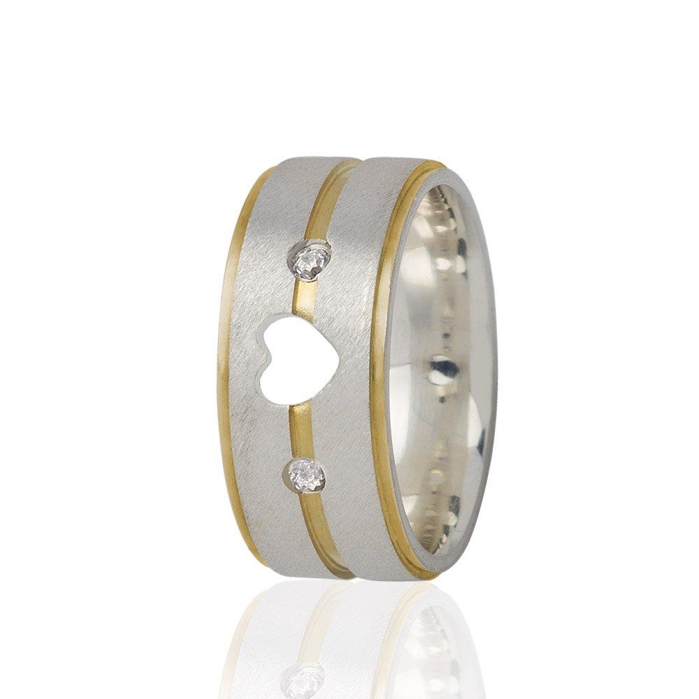Alianças Compromisso de Prata Coração Vazado Com Filete de Ouro (7mm)