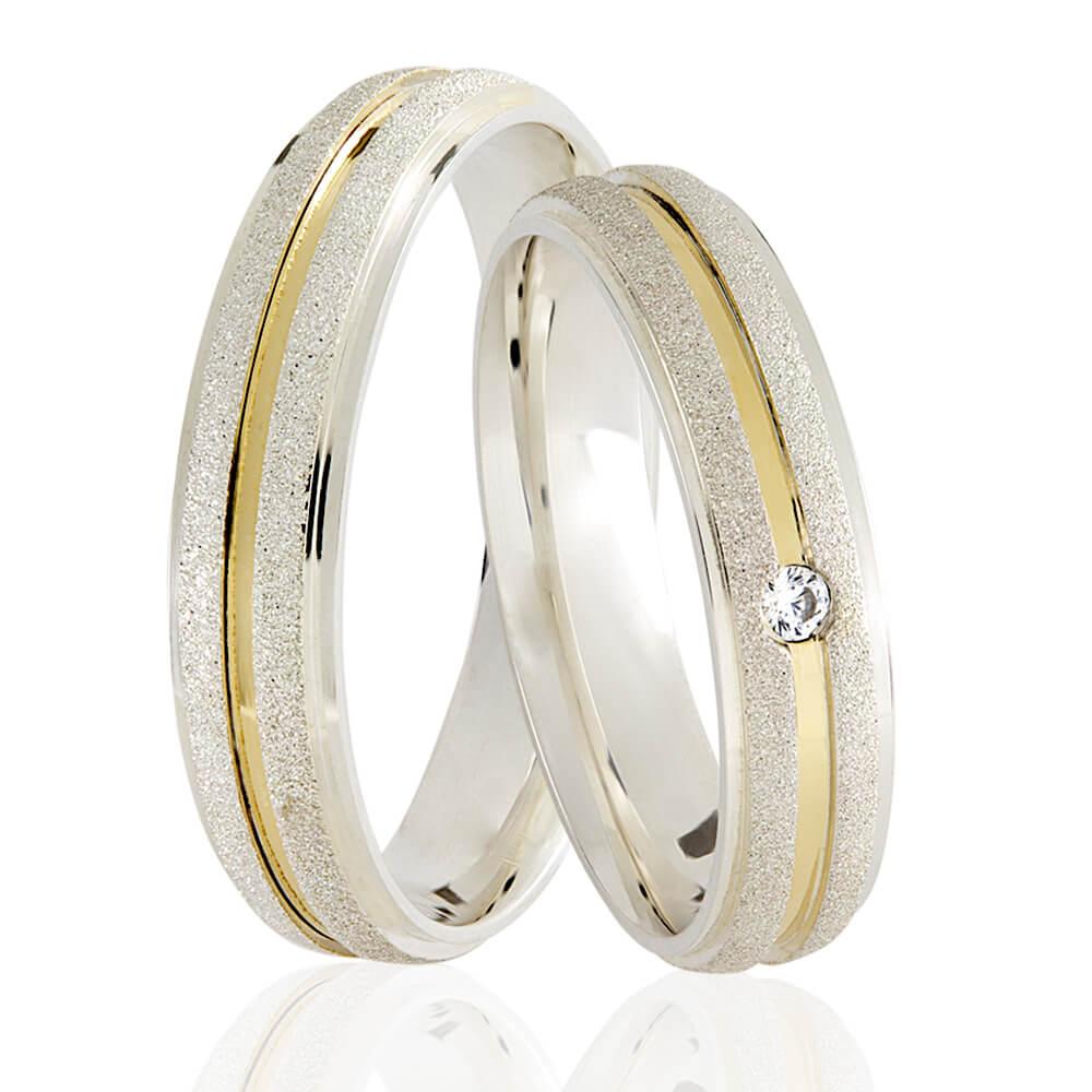 Alianças Namoro Prata Coleção Filete de Ouro Diamantada (5,5 mm)