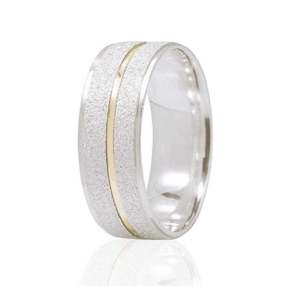 Alianças Namoro Passion Prata Coração Vazado e Filete de Ouro AP6093