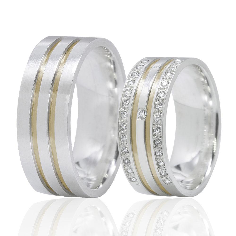 Alianças Namoro Prata Fios de Ouro Cravejada em Pedras (7mm)