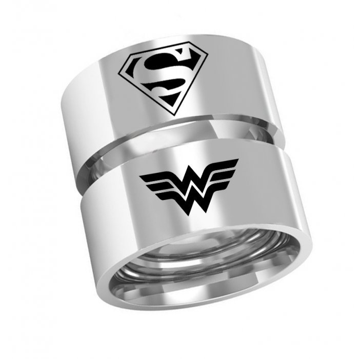 Alianças Namoro Superman x Mulher-Maravilha de Prata AP6004