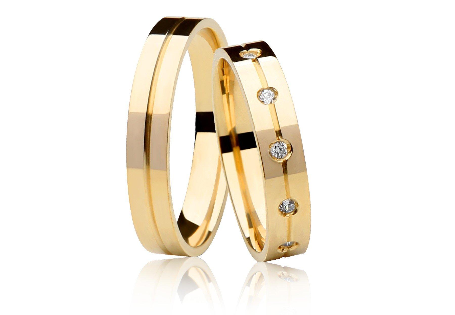 Alianças Reta de Prata 950 Banhadas a Ouro 24k Noivado ou Casamento AB7080