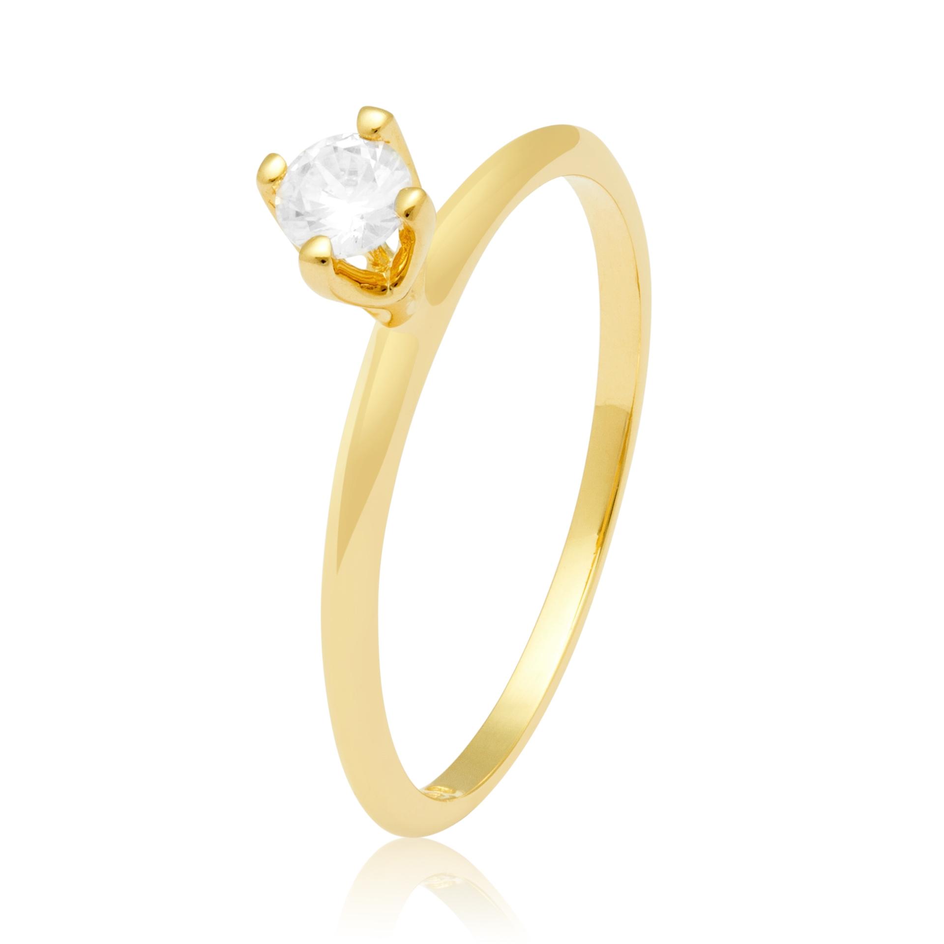 Solitário Faceted Ouro Amarelo 18k e 30 Pontos de Diamantes