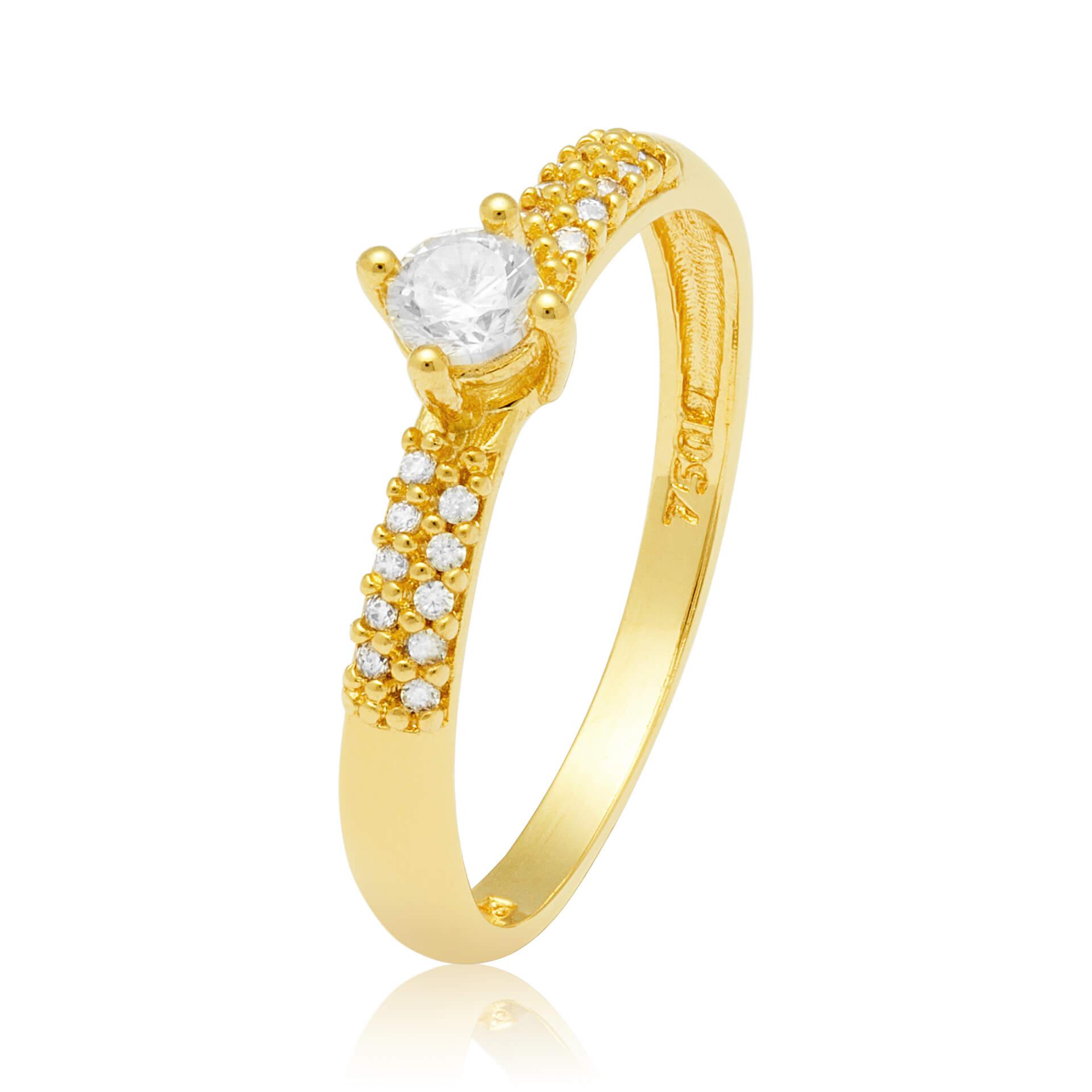 Solitário Ouro Amarelo 18k Cluster e 28 Pontos de Diamantes