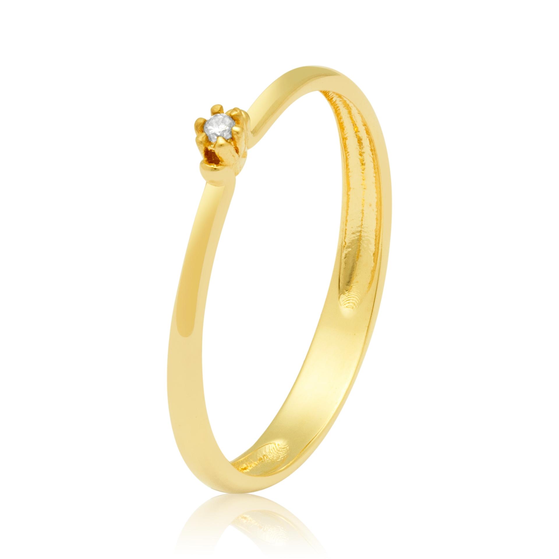 Solitário Ouro Amarelo 18k com Diamante Delicate