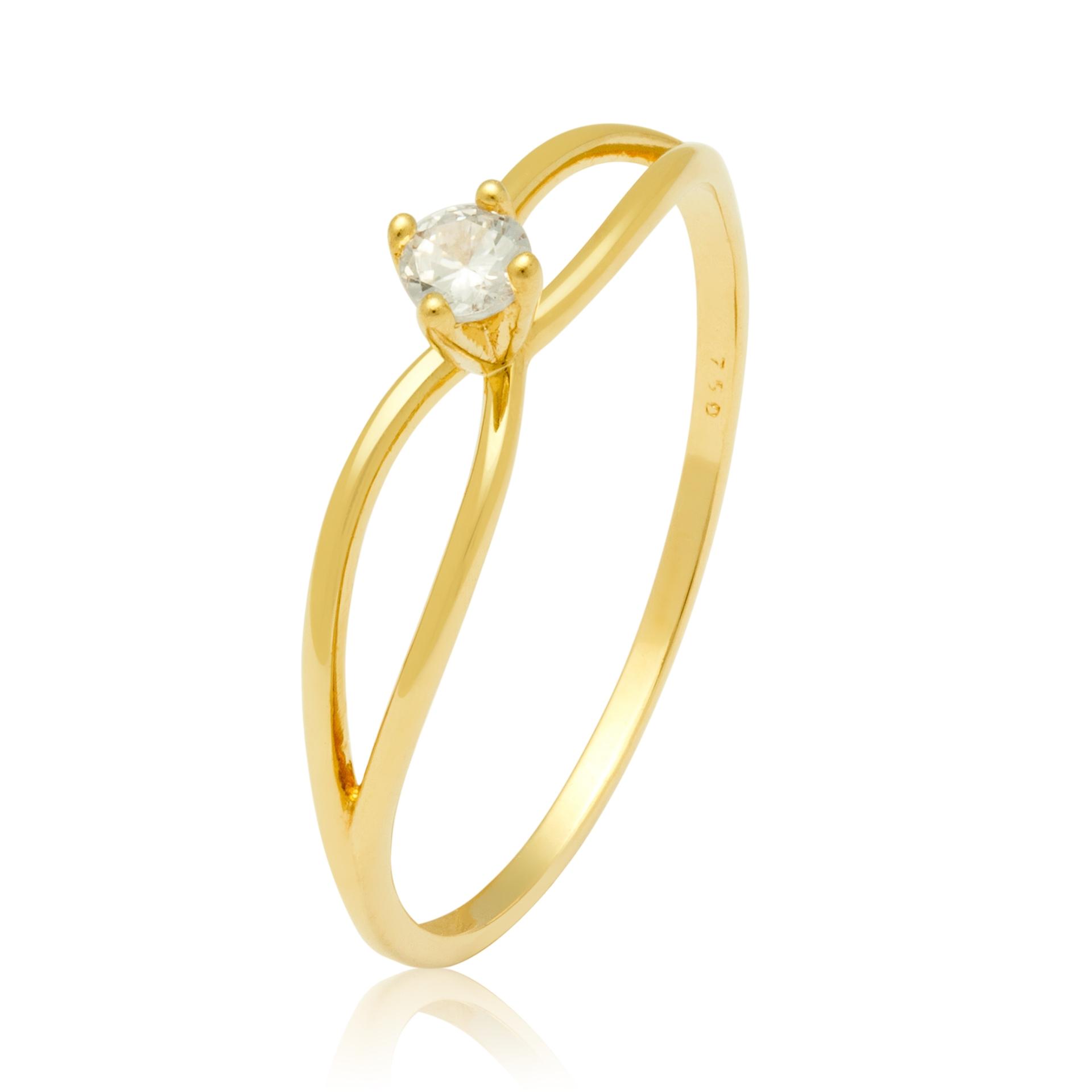 Solitário Ouro Amarelo 18k Double e 11 Pontos de Diamantes