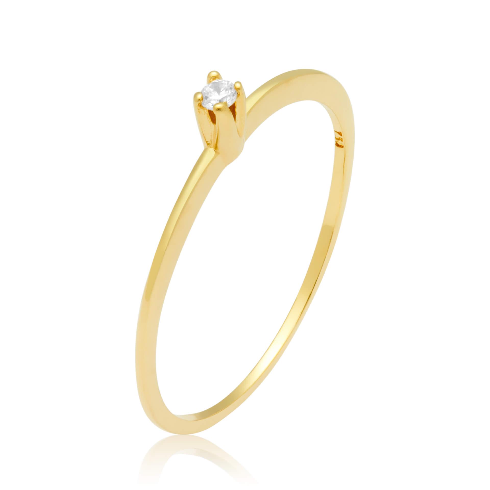 Solitário Ouro Amarelo 18k Flat e 3,5 pontos de Diamantes