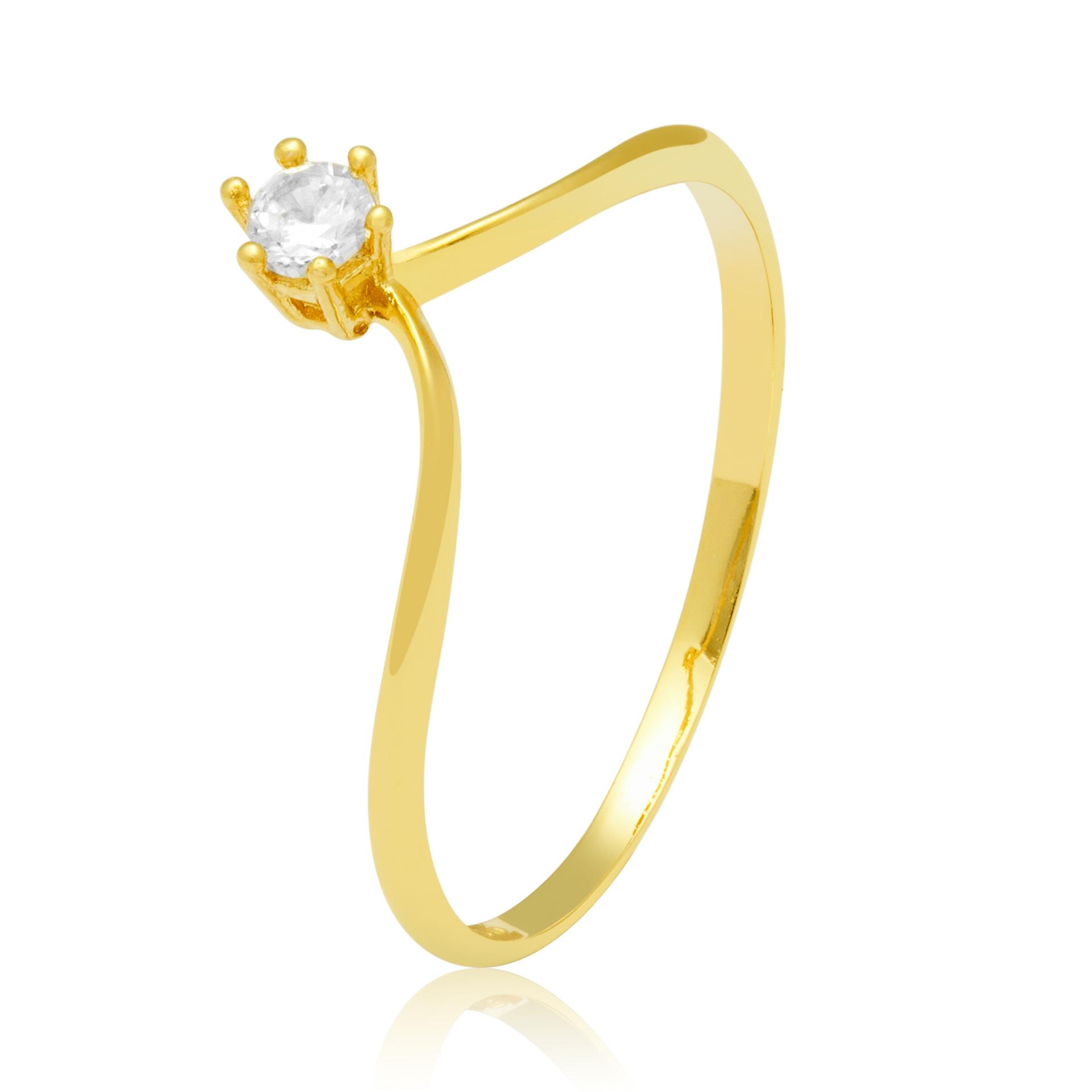 Solitário Ouro Amarelo 18k Gemstone e 11 Pontos de Diamantes