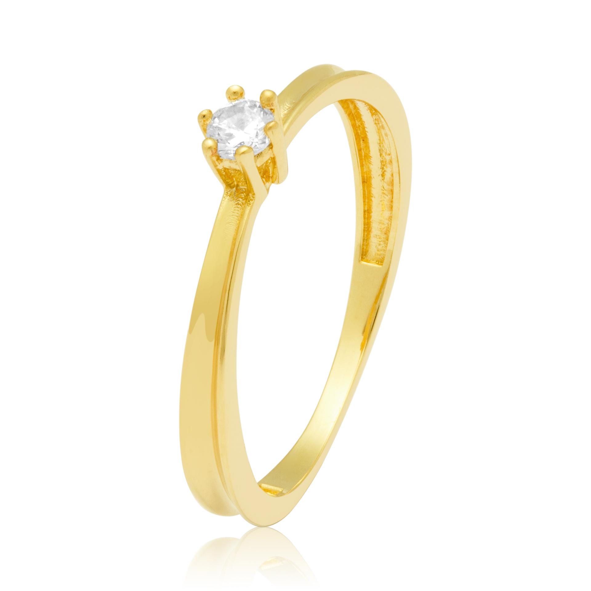 Solitário Ouro Amarelo 18k Golden Line e 11 Pontos de Diamantes