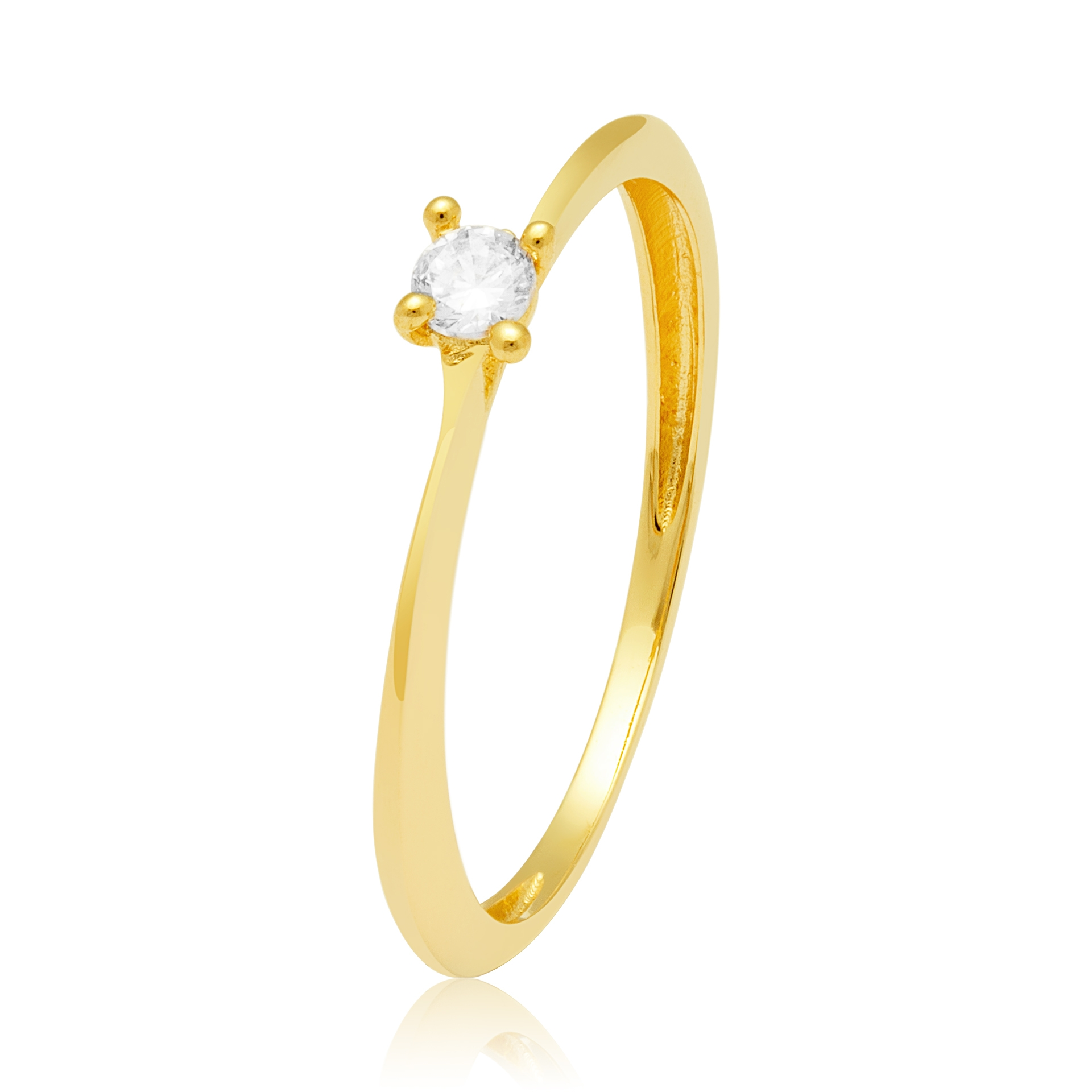 Solitário Ouro Amarelo 18k Illusion e 11 Pontos de Diamantes