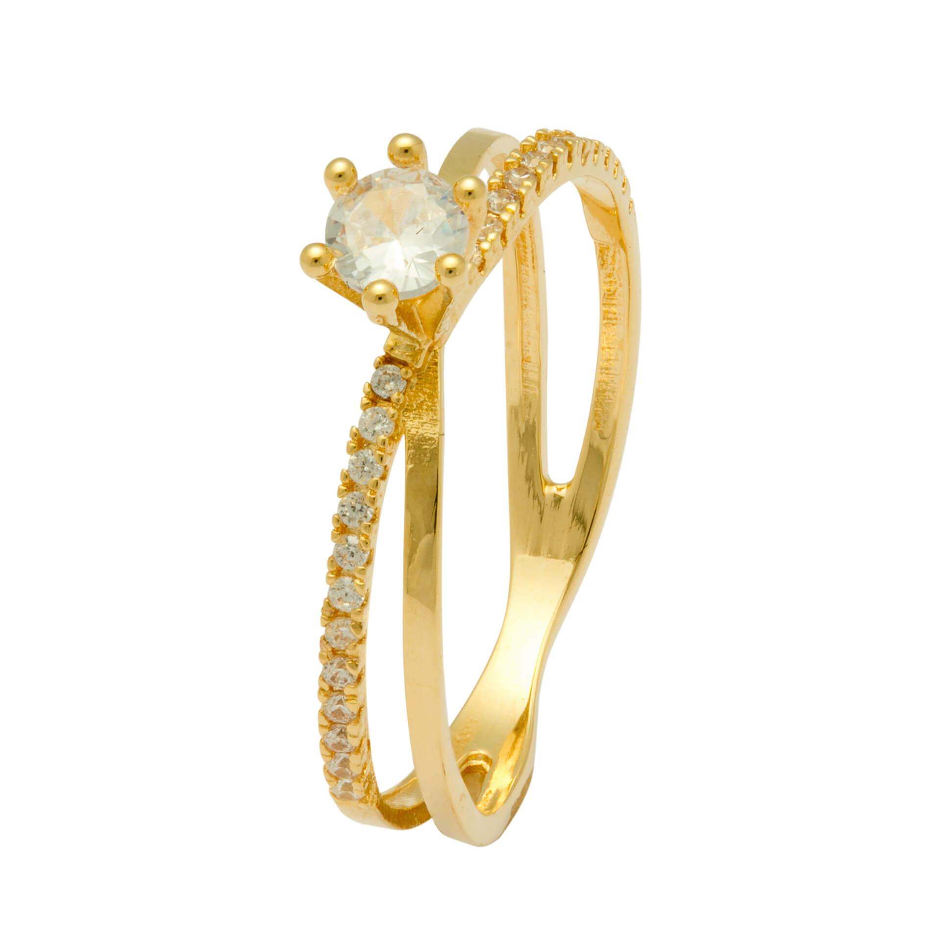 Solitário Ouro Amarelo 18k Jewel e 38 Pontos de Diamantes