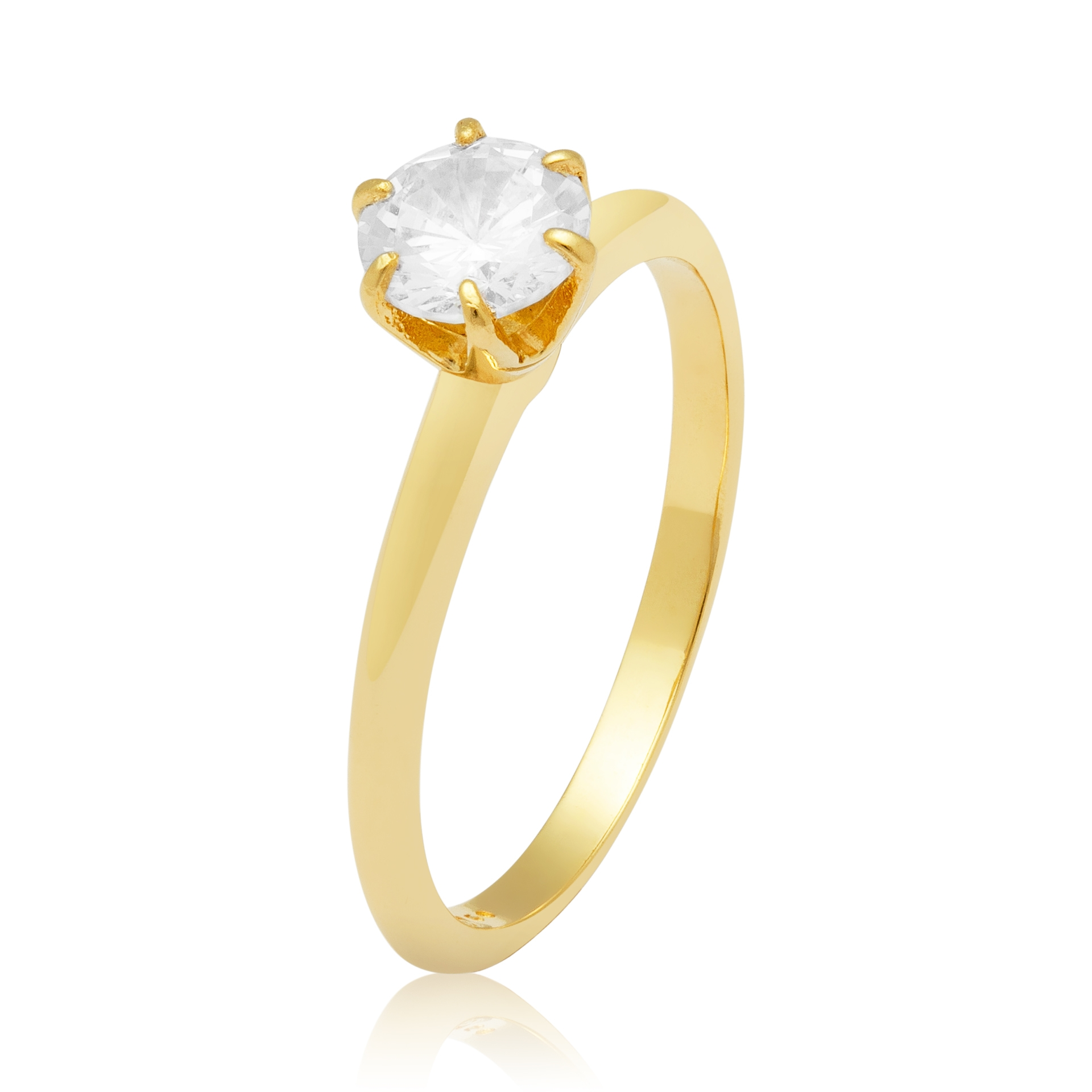 Solitário Ouro Amarelo 18k Solitaire e 90 Pontos de Diamantes