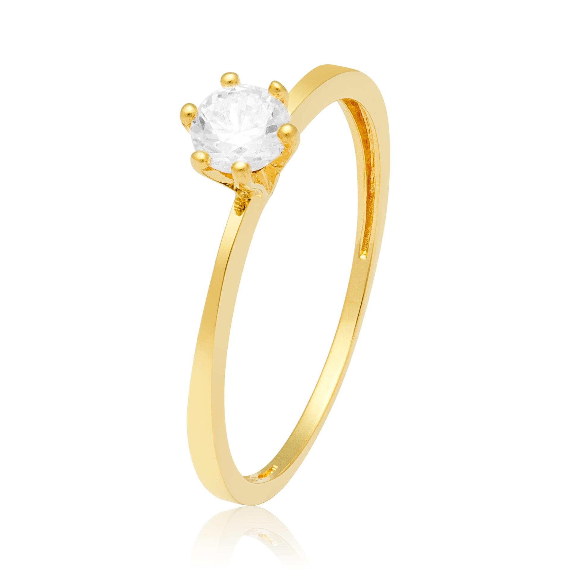 Solitário Ouro Amarelo 18k Stone e 45 Pontos de Diamantes