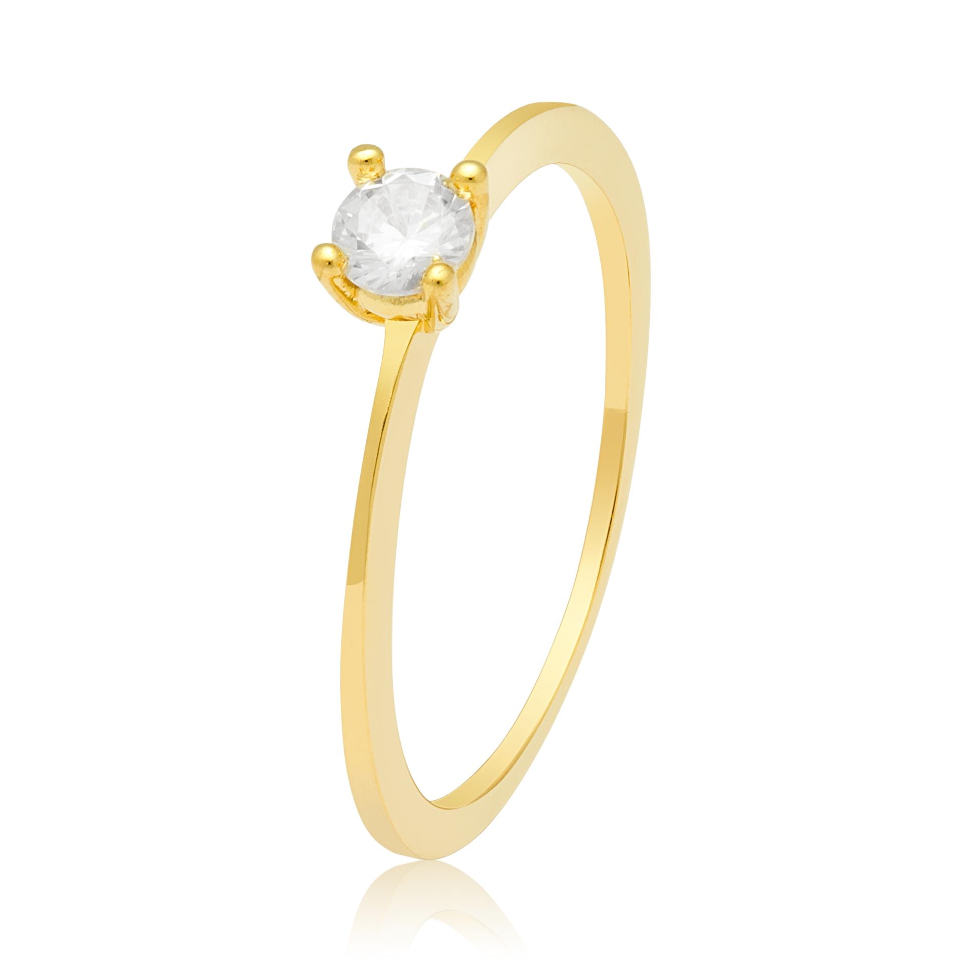 Solitário Prong Ouro Amarelo 18k e 30 Pontos de Diamantes