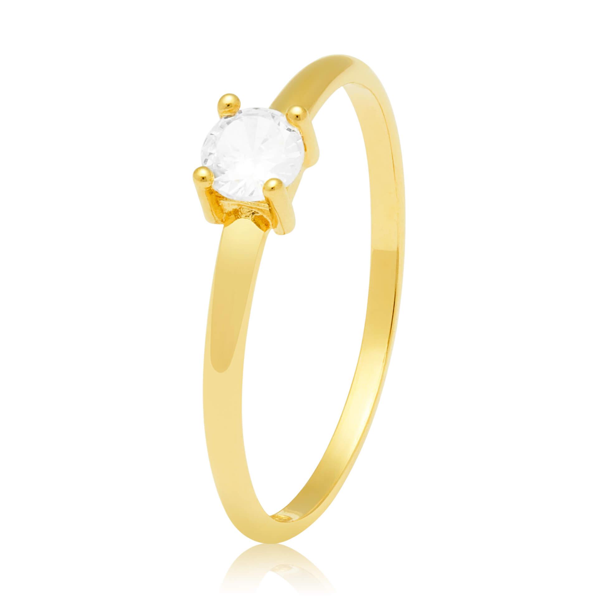 Solitário Ouro Amarelo 18k Clarity e 30 Pontos de Diamantes