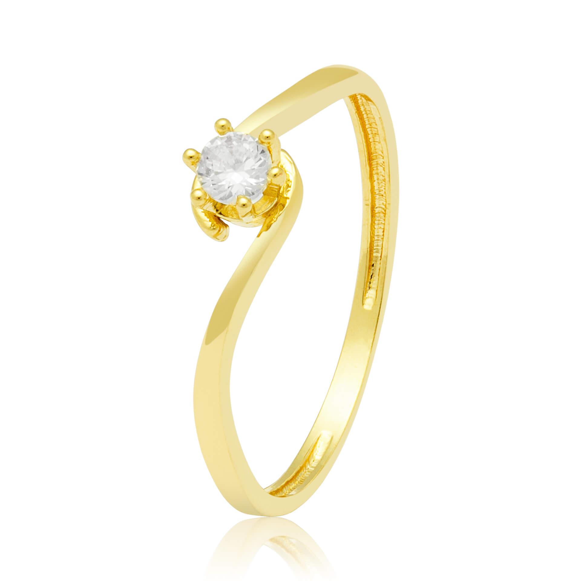 Solitário Ouro Amarelo 18k  excellent e 11 Pontos de Diamantes
