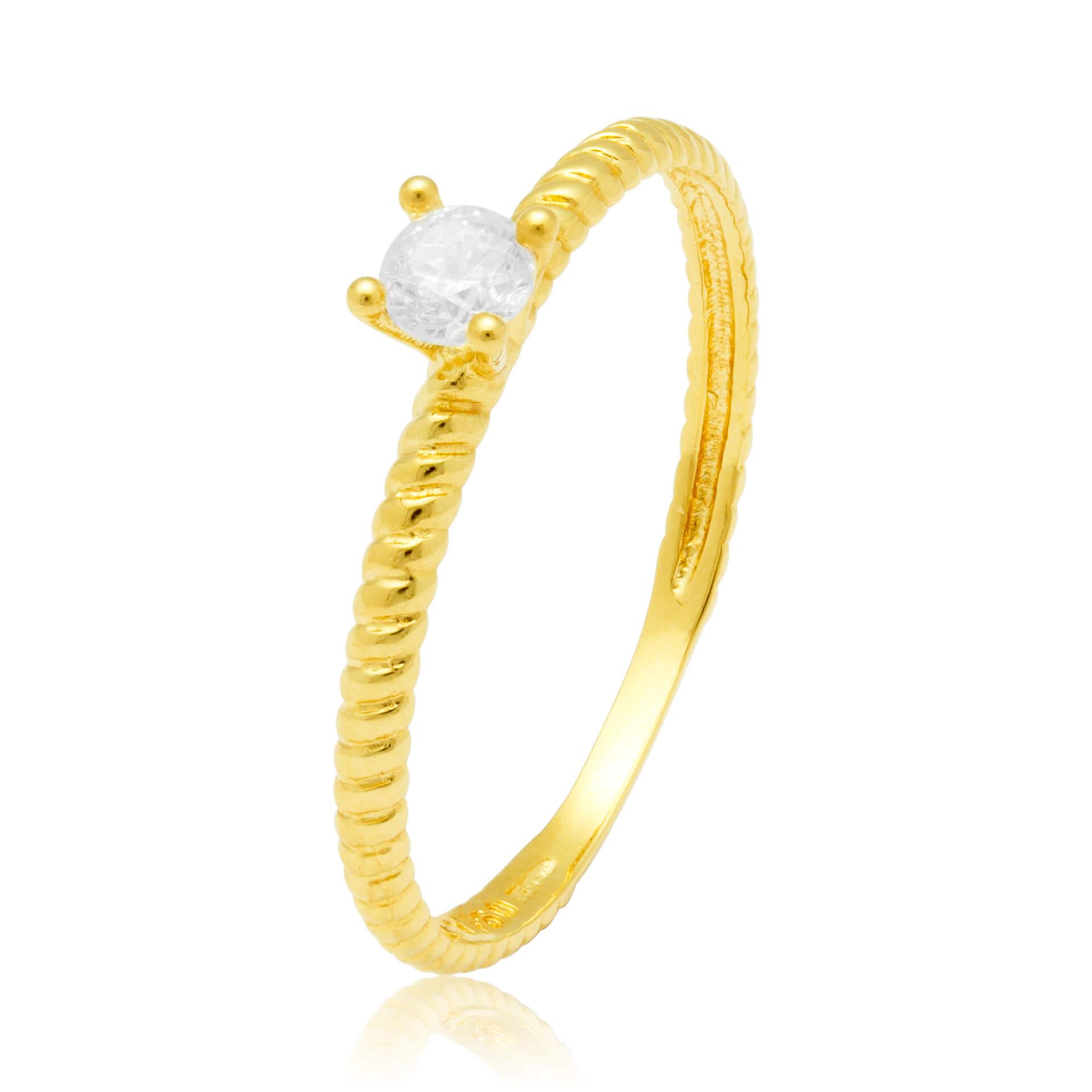 Solitário Ouro Amarelo 18k  twisted e 20 Pontos de Diamantes