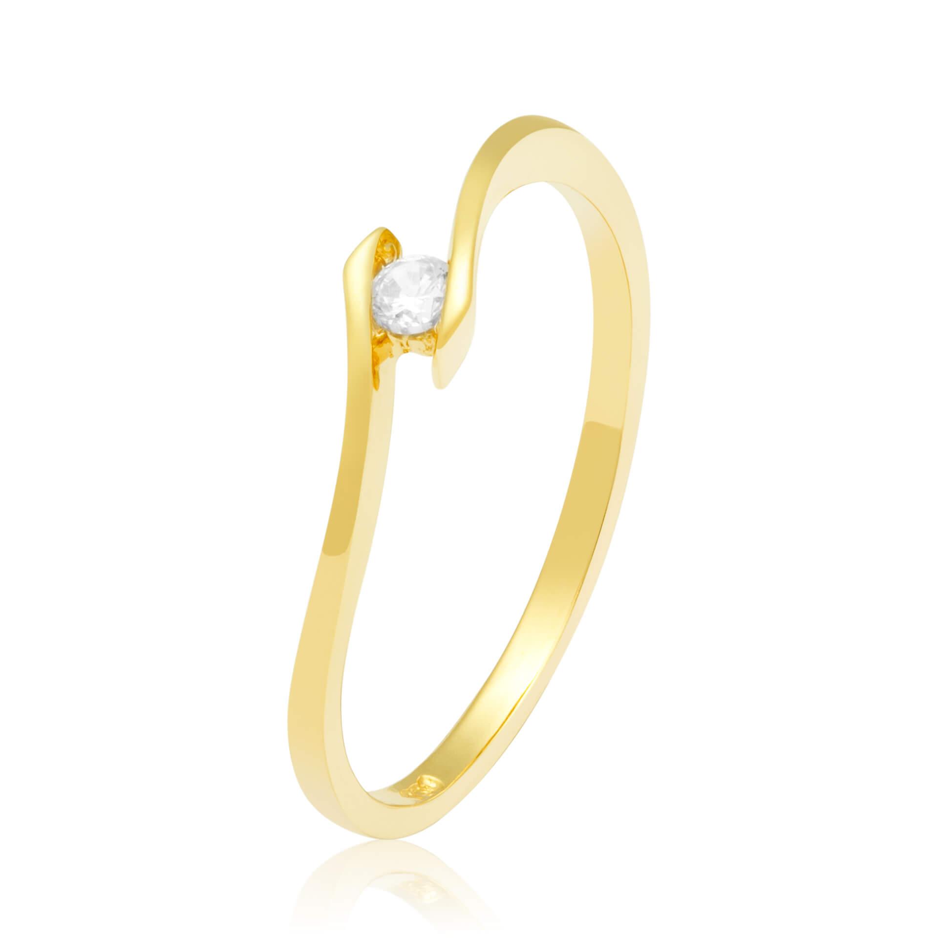 Solitário Ouro Amarelo 18k Tension e 6 Pontos de Diamantes