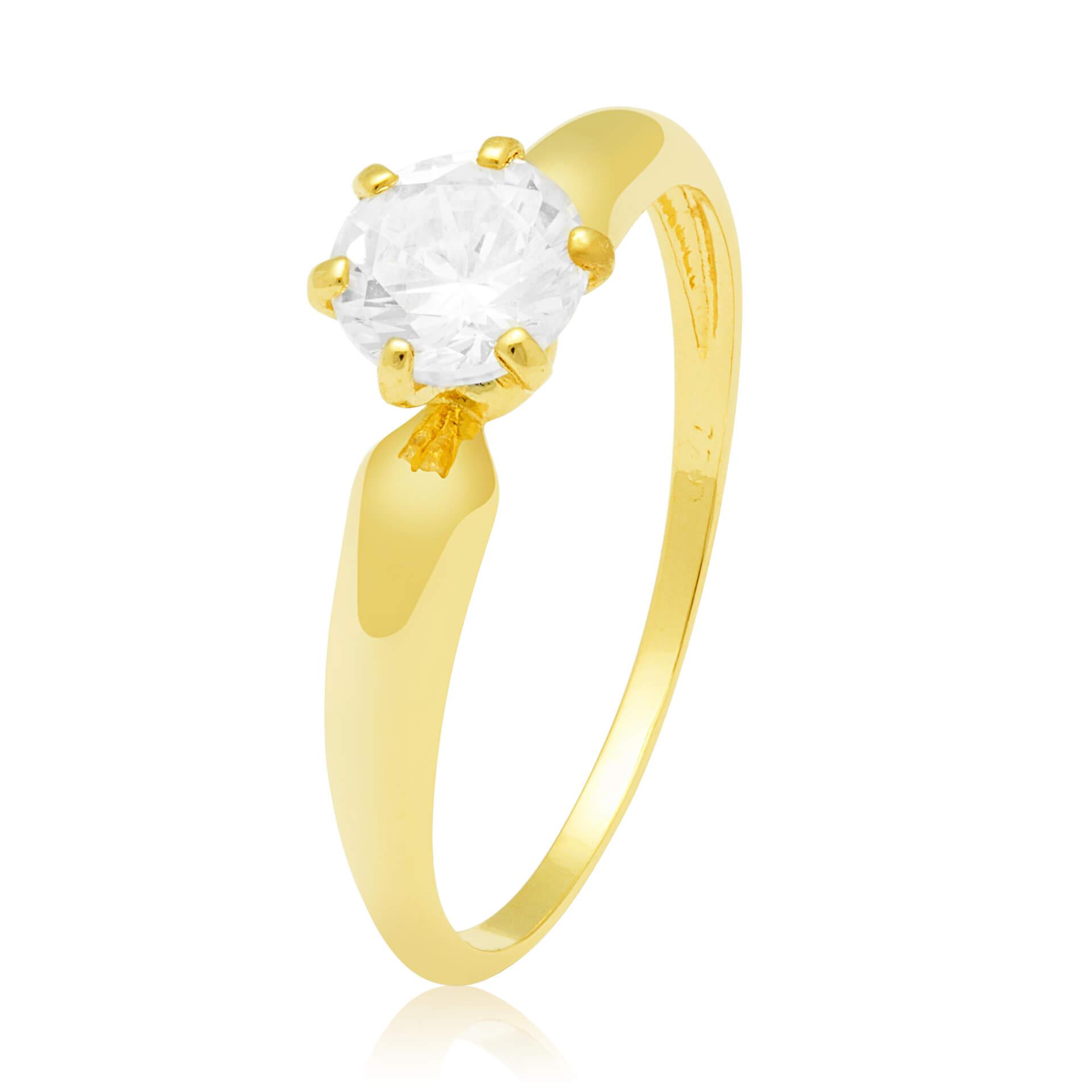 Solitário Ring II Ouro Amarelo 18k e 90 Pontos de Diamantes