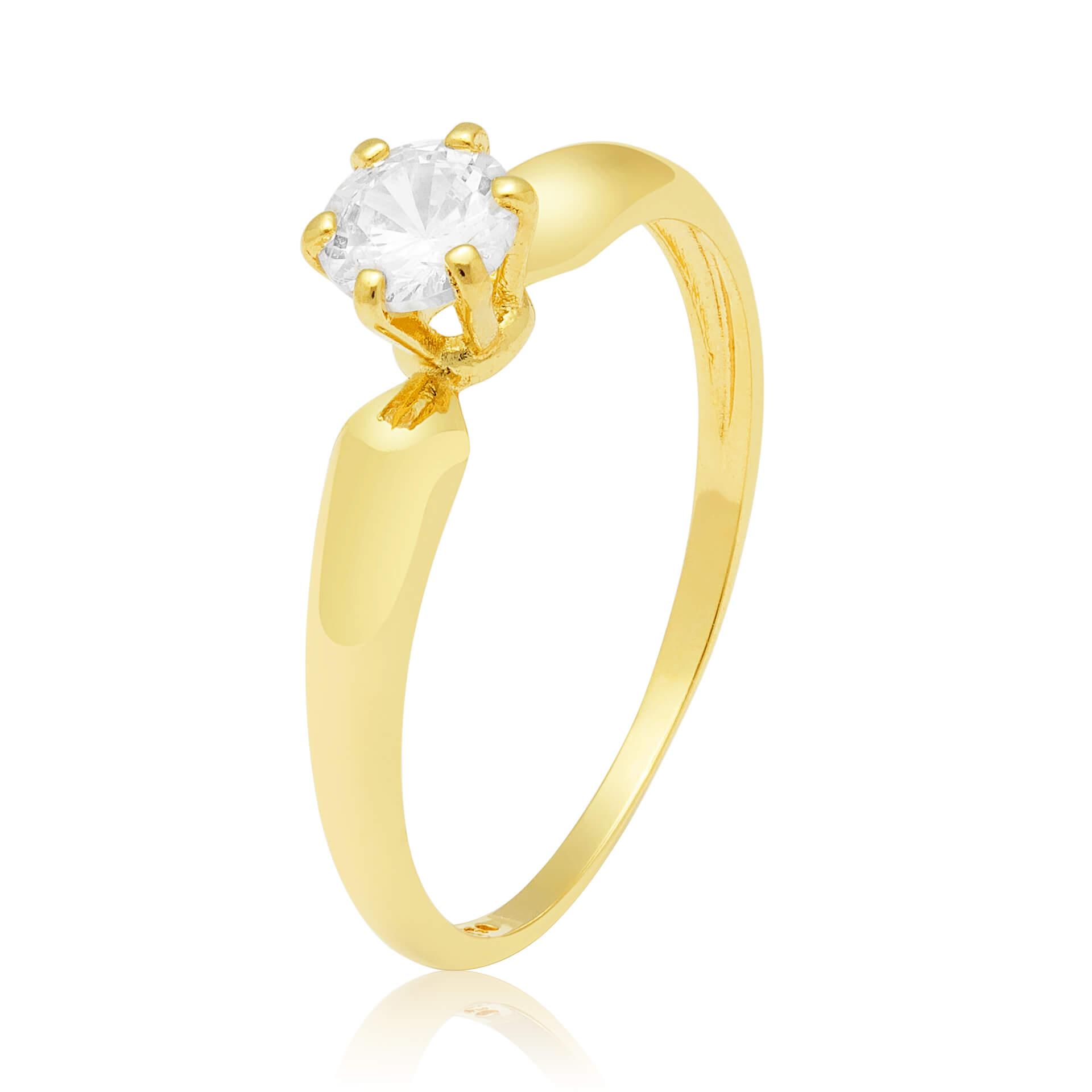 Solitário Ring Ouro Amarelo e 50 Pontos de Diamantes
