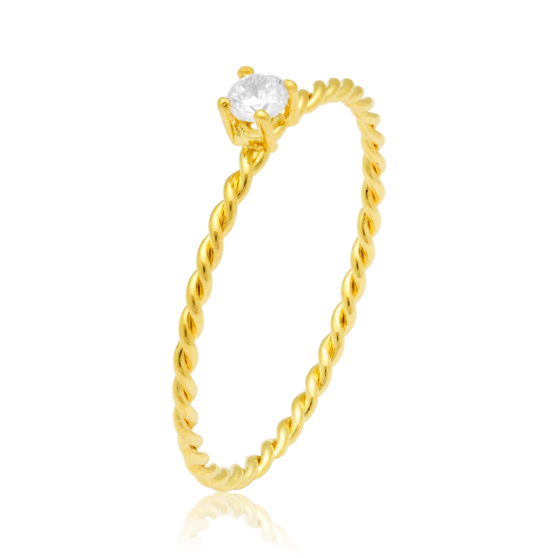 Solitário Twist II Ouro Amarelo 18k e Diamantes