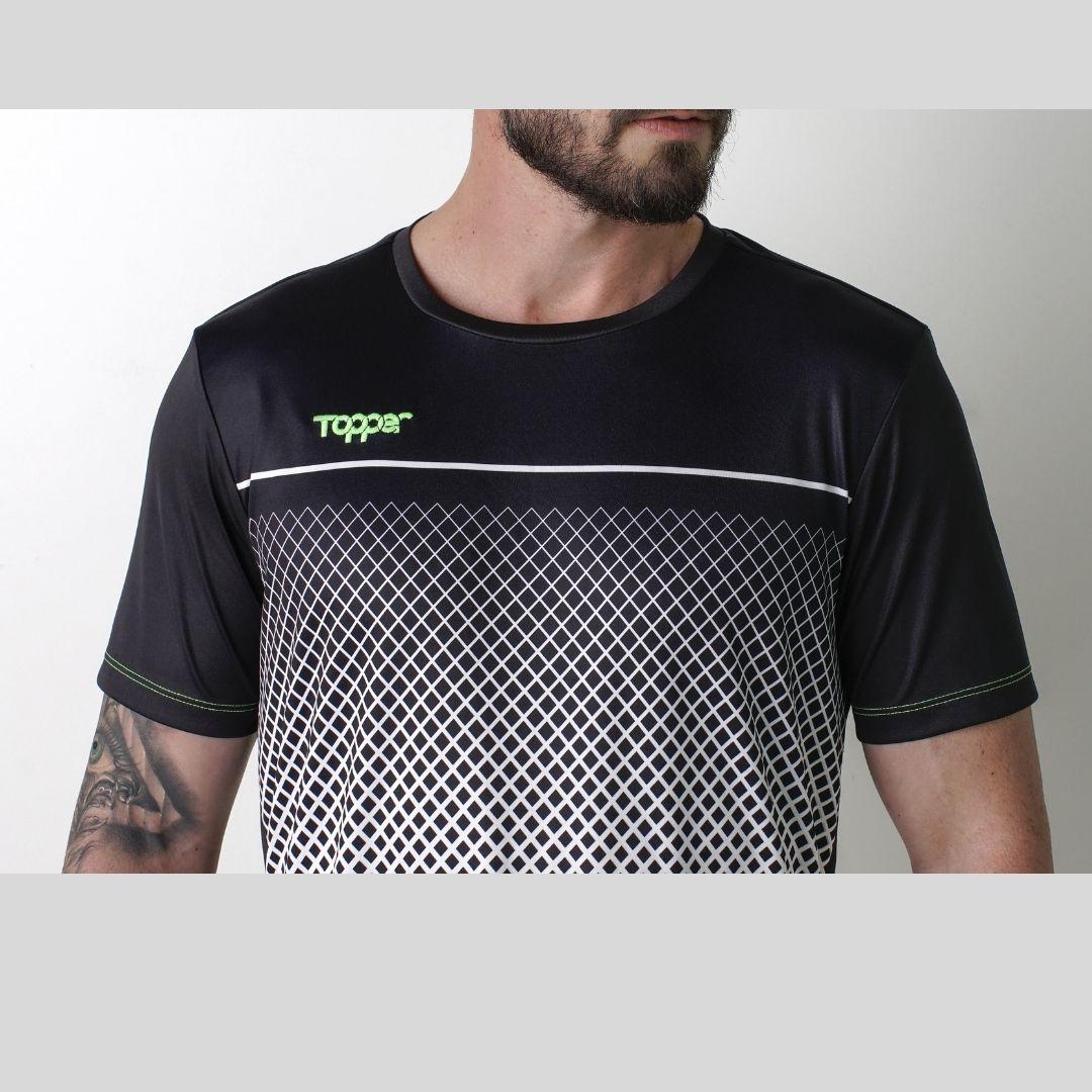 Camisa Topper Trace Masculina - Preto e Branco