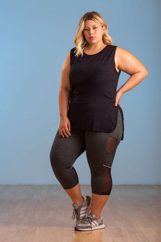 Calça Corsário Fitnes Plus Size com Bolso e tule