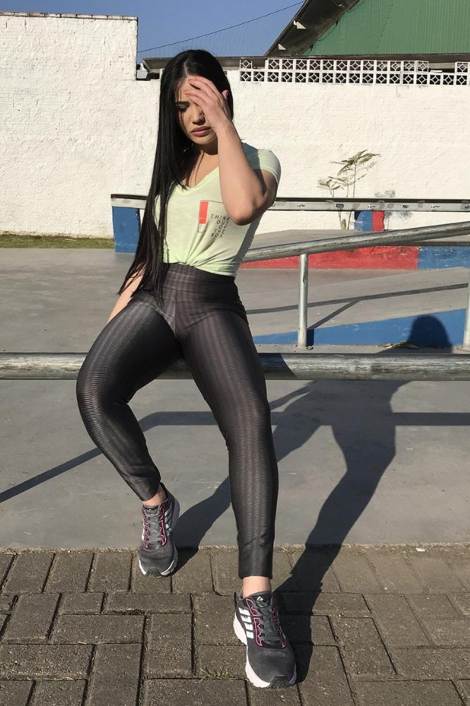 Calça Legging Feminina 3D Cinza Escuro
