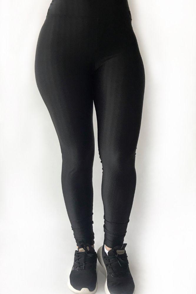 Calça Legging Feminina 3D Preta Lista Horizontal