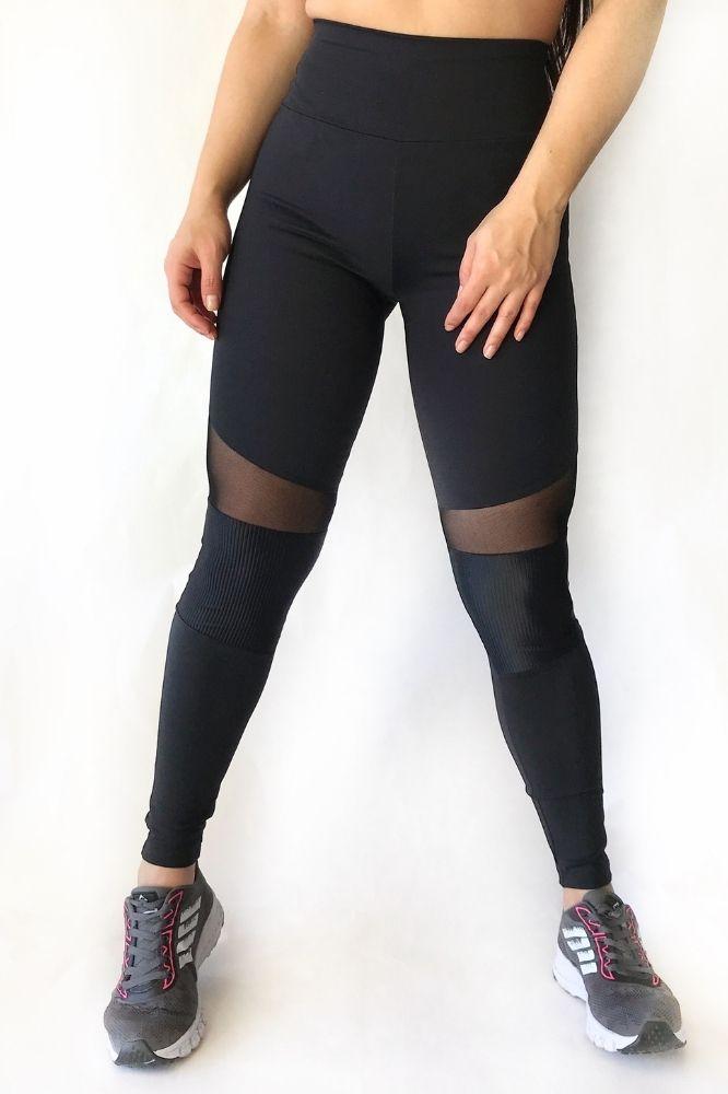 Calça Legging Feminina Preta com tule
