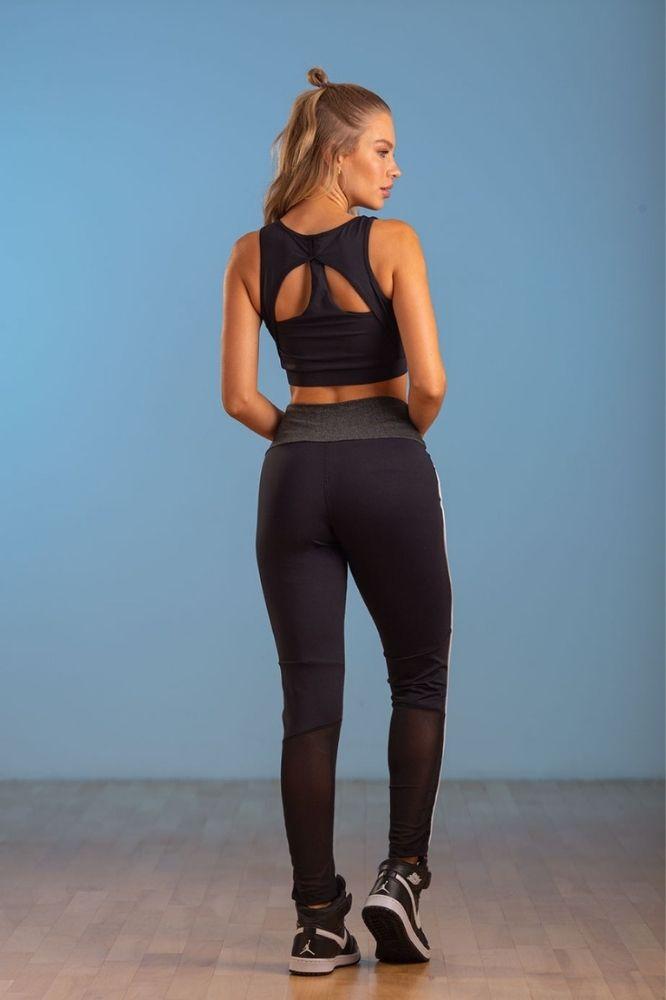 Calça Legging Fitness Feminina Cinza com preto